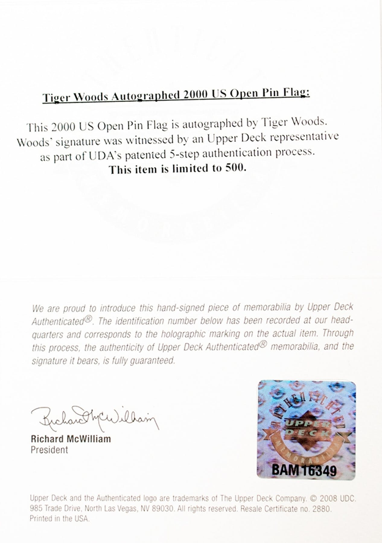 Tiger woods autographed us open pebble beach pin flag 180500 tiger woods autographed us open pebble beach pin flag 180500 upper deck xflitez Choice Image